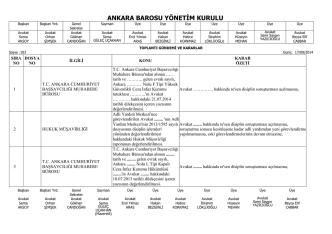 17 eylül 2014 tarihinde yapılan yönetim kurulu