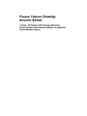 30.06.2014 - Finans Yatırım Ortaklığı A.Ş.