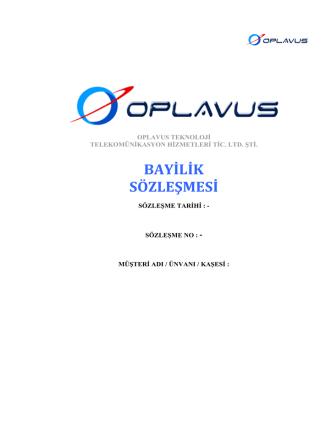 BAYİLİK SÖZLEŞMESİ - Oplavus Teknoloji