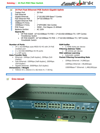 24 Port Fast Ethernet POE Switch Gigabit Uplink