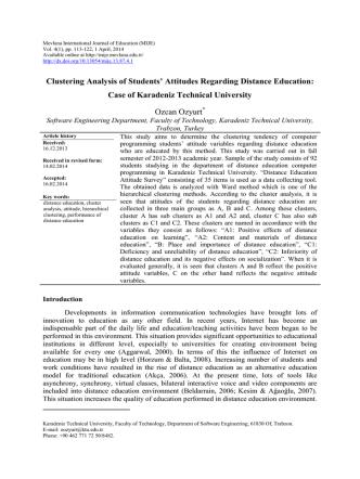 Clustering Analysis of Students - Mevlana International Journal of