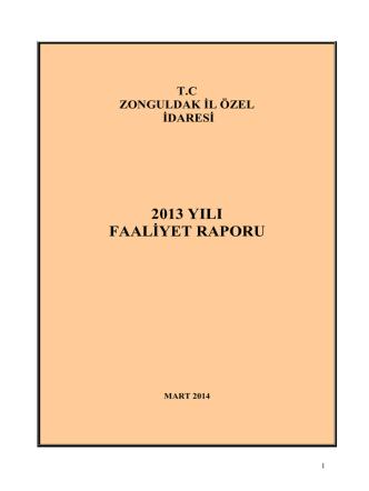 2013 Yılı Faaliyet Raporu - Zonguldak İl Özel İdaresi