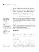 Renal Transplantasyon Yapılan Hastada Brakiyal Arter Stenozuna