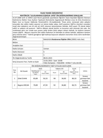 26931 Uluslararası İlişkiler Ofisi Ön DeĞerlendirme Sonucu