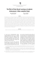 The Effect of Brain Based Learning on Academic Achievement