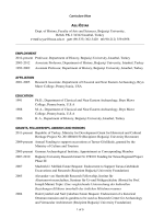 Curriculum Vitae Dept. of History, Faculty of Arts and Sciences