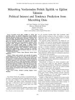Mikroblog Verilerinden Politik˙Ilgililik ve E˘gilim Tahmini Political