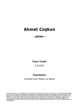 Ahmet Coşkun - Antoloji.Com