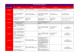 2014-‐2015 FALL SCHEDULE CS 1ST YEAR