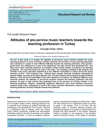 Attitudes of pre-service music teachers towards the teaching