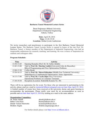 Barbaros Tansel Memorial Lecture Series, April 30