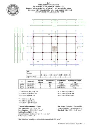 2013-2014 Yaz okulu Betonarme Bina Tasarımı Dersi Proje Föyü