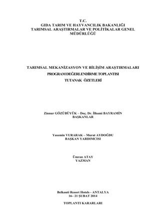 2014 tskad tutanak - TC Gıda Tarım ve Hayvancılık Bakanlığı