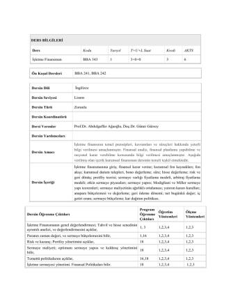 BBA 343 - Yeditepe İşletme