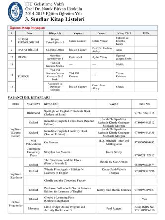 3. Sınıflar Kitap Listeleri - İTÜ Geliştirme Vakfı Okulları