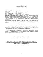 Karar No - 160 : 2015 Tarife Cetvelleri