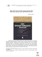 ŞEN, Serkan (2014), Eski Uygur Türkçesi Dersleri