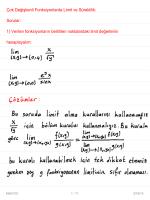Çok Değişkenli Fonksiyonlarda Limit ve Süreklilik: Sorular: 1