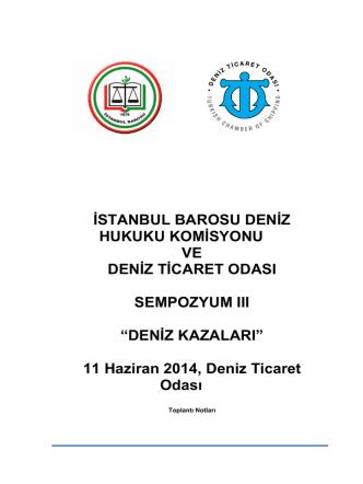 DENİZ KAZALARI - İstanbul Barosu
