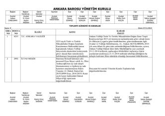 27 kasım 2014 tarihinde yapılan yönetim kurulu