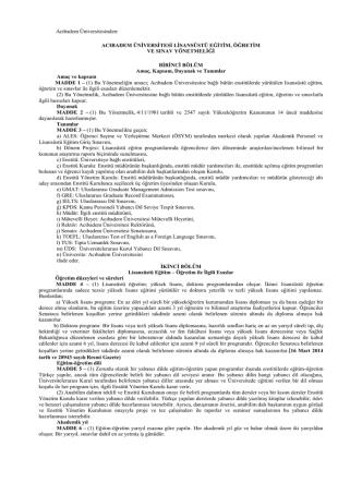 Acıbadem Üniversitesinden: ACIBADEM ÜNİVERSİTESİ