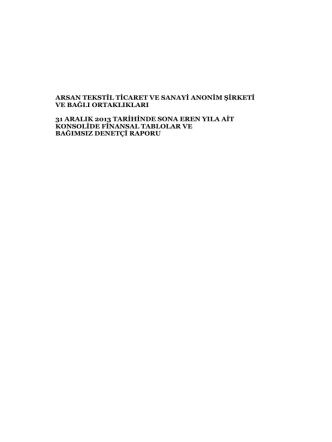 arsan tekstil ticaret ve sanayi anonim şirketi ve bağlı ortaklıkları 31