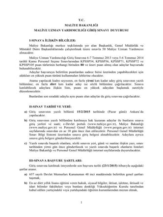 15 Şubat 2015 Tarihinde Yapılacak Olan Maliye Bakanlığı Maliye
