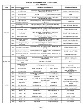 20-27 Şubat 2015 Faaliyet Programı