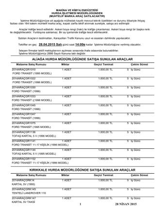 28 nisan 2015 tarihli araç ihale listesi