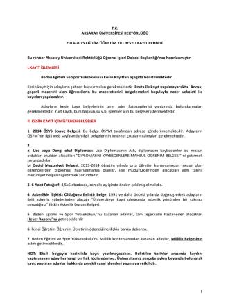 BESYO Kayıt İşlemleri Rehberi - Öğrenci İşleri Daire Başkanlığı