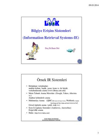 Bilgiye Erişim Sistemleri (Information Retrieval Systems