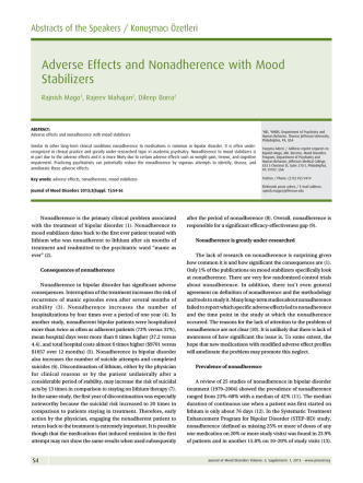 Adverse Effects and Nonadherence with Mood Stabilizers