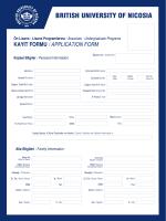 kayıt formu / applıcatıon form - British University of Nicosia