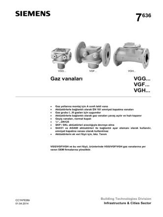 7636 Gaz vanaları VGG... VGF... VGH