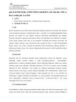 Fiziksel Ölçüm Yöntemleri (İletkenlik, TDS, Çözünmüş Oksijen, pH