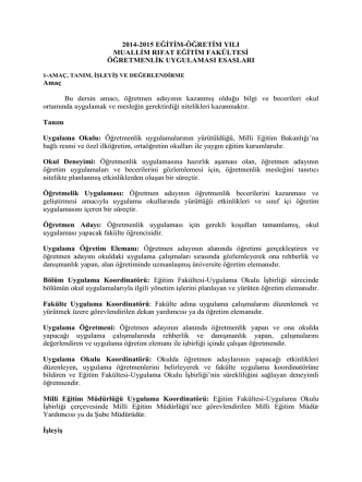 2014-2015 EĞİTİM-ÖĞRETİM YILI MUALLİM