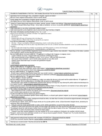 Checklist for Family/Relatives Visit Visa / Aile/Arkadaş Ziyareti için