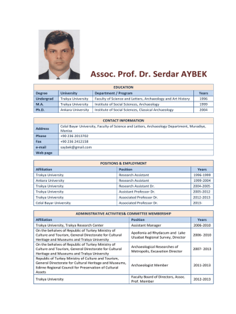 Assoc. Prof. Dr. Serdar AYBEK - Celal Bayar Üniversitesi Fen