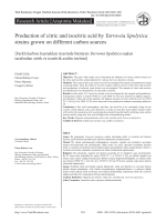 Production of citric and isocitric acid by Yarrowia lipolytica strains