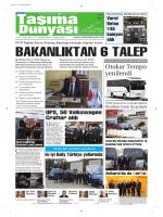 Taşıma Dünyası Gazetesi-162 PDF 17 Kasım 2014 tarihli sayısını