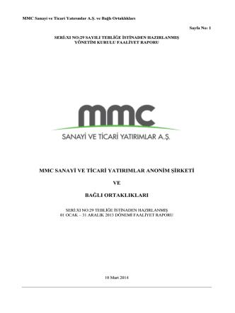 31.12.2013 Dönemi Faaliyet Raporu