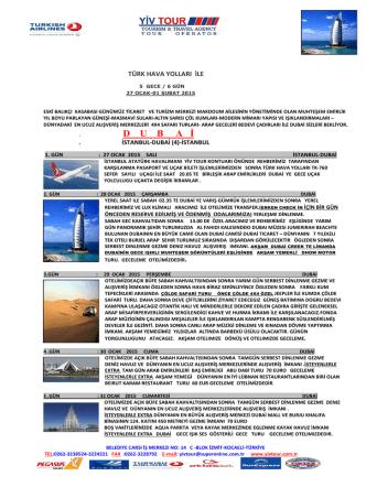 D    U    B     A   İ - Yiv Tour Turizm Seyahat Acentası