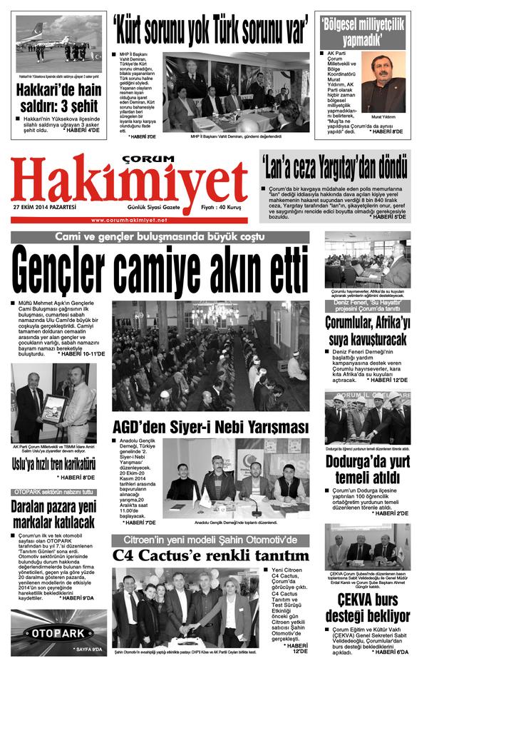 27 Ekim Qxd Corum Hakimiyet Gazetesi