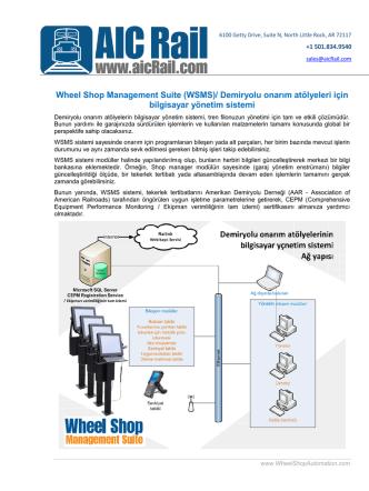 (WSMS)/ Demiryolu onarım atölyeleri için bilgisayar yönetim sistemi