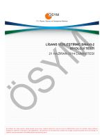 LİSANS YERLEŞTİRME SINAVI-2 BİYOLOJİ TESTİ 21 HAZİRAN