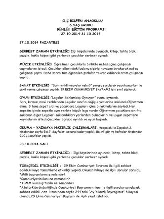 27-31 Ekim Etkinlikleri