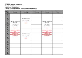 2013-2014 Mimarlık Yaz Okulu Ders Programı