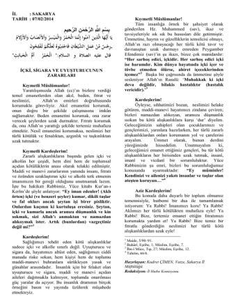 07.02.2014 - İçki, Sigara ve Uyuşturucunun Zararları