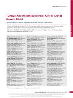 (2013) Hakem Dizini - Türkiye Aile Hekimliği Dergisi