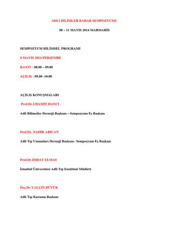 adl bl mler bahar sempozyumu 08 – 11 mayıs 2014 marmar s